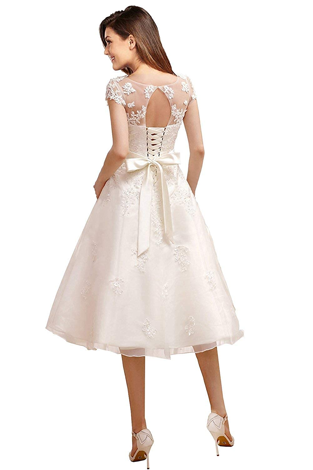 Xkyu Womens Lace Cap Sleeves Wedding Dress Evening Gown Tea Length