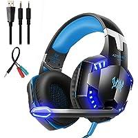 Gaming-headset met microfoon, volumeregeling en LED-lampen, blauw