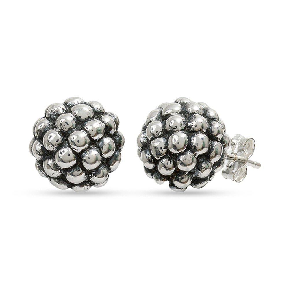 LeCalla Women's Sterling Silver Jewelry Granule Texture Ball Stud Earrings In Silver Antique Finish