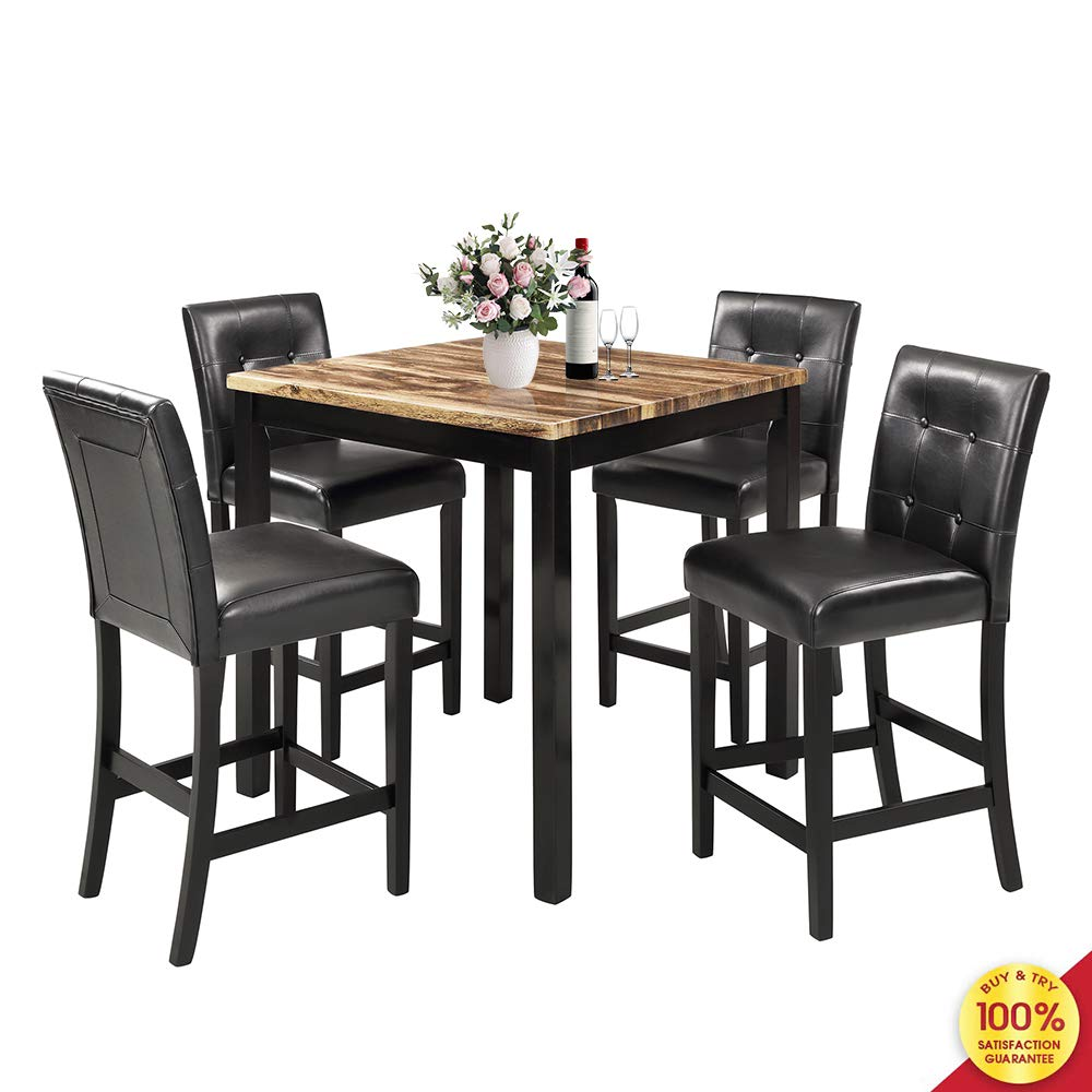 MOOSENG 5-Piece Dining Table Set, Wood Elegant Counter Height Desk and 4 Back Chairs, Perfect for Kitchen, Breakfast Nook, Living Room Occasions, 5pc-wooden
