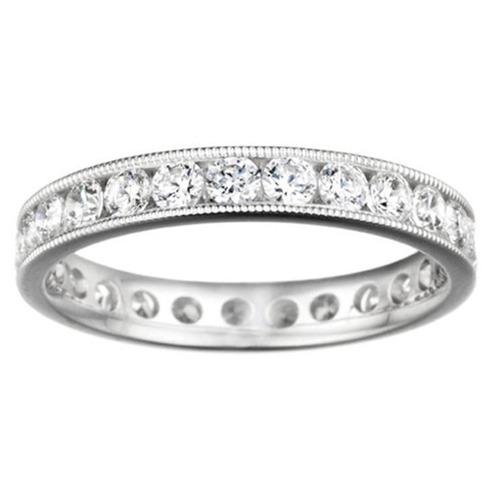 TwoBirch Sterling Silver Channel Set Round Eternity Band with Milgrained Edges set with Cubic Zirconia (2.04 ct. twt.)
