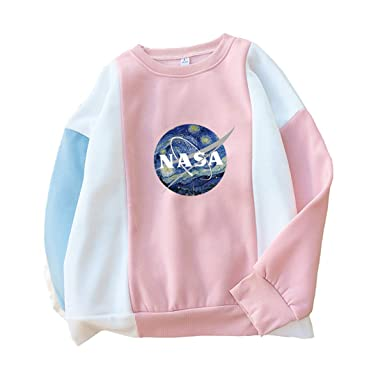 90b5e76c521a07 Amazon.com  CORIRESHA Fresh Color Block NASA Print Pullover Sweatshirt   Clothing