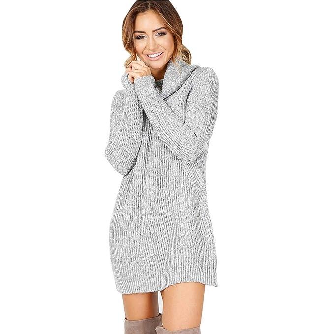 Jersey de Cuello Alto Blusa de Abrigo,Longra Mujer Casual Manga Larga Jumper Suéteres de