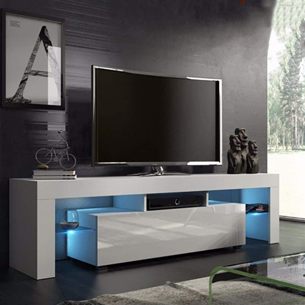 Us Fast Shipment Quaanti Tv Stand With High Gloss Led Lights Media Tv Console Table Storage Cabinet Drawers Large Tv Stand Shelves For 43 55 50 65 Inch Tv For Living Room Furniture White Arts