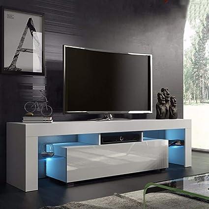 US Fast Shipment Quaanti Soporte de TV con luces LED de alto brillo, consola de TV de medios de almacenamiento, armario de almacenamiento, estantes grandes para TV de 43/55/50/65 pulgadas para muebles