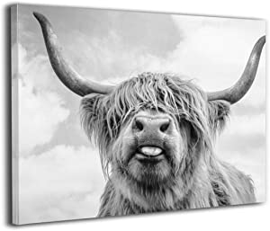 Canvas Print Wall Art Freedom Highland Cow Picture Painting For Modern Home Living Room Decorations Bedroom Decor Ready To Hang Stretched And Framed Artwork 12''X16''