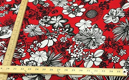 100% rayon challis Hawaiian print red n black 60