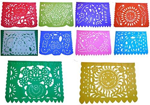 Large TISSUE PAPER Mexican Papel Picado Banner fiesta theme (15 Feet Long) Designs as Pictured (Party City Dia De Los Muertos)