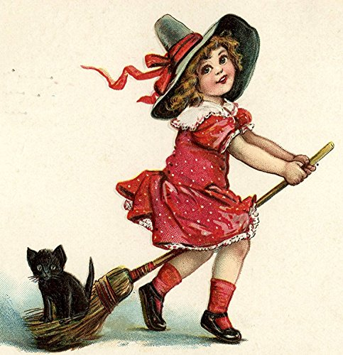 Retro Vintage Girl Halloween Witch Ha Pet Black Cat Kitten Riding Broom Cute Funny  Pillow Cover 18 X 18 Inches