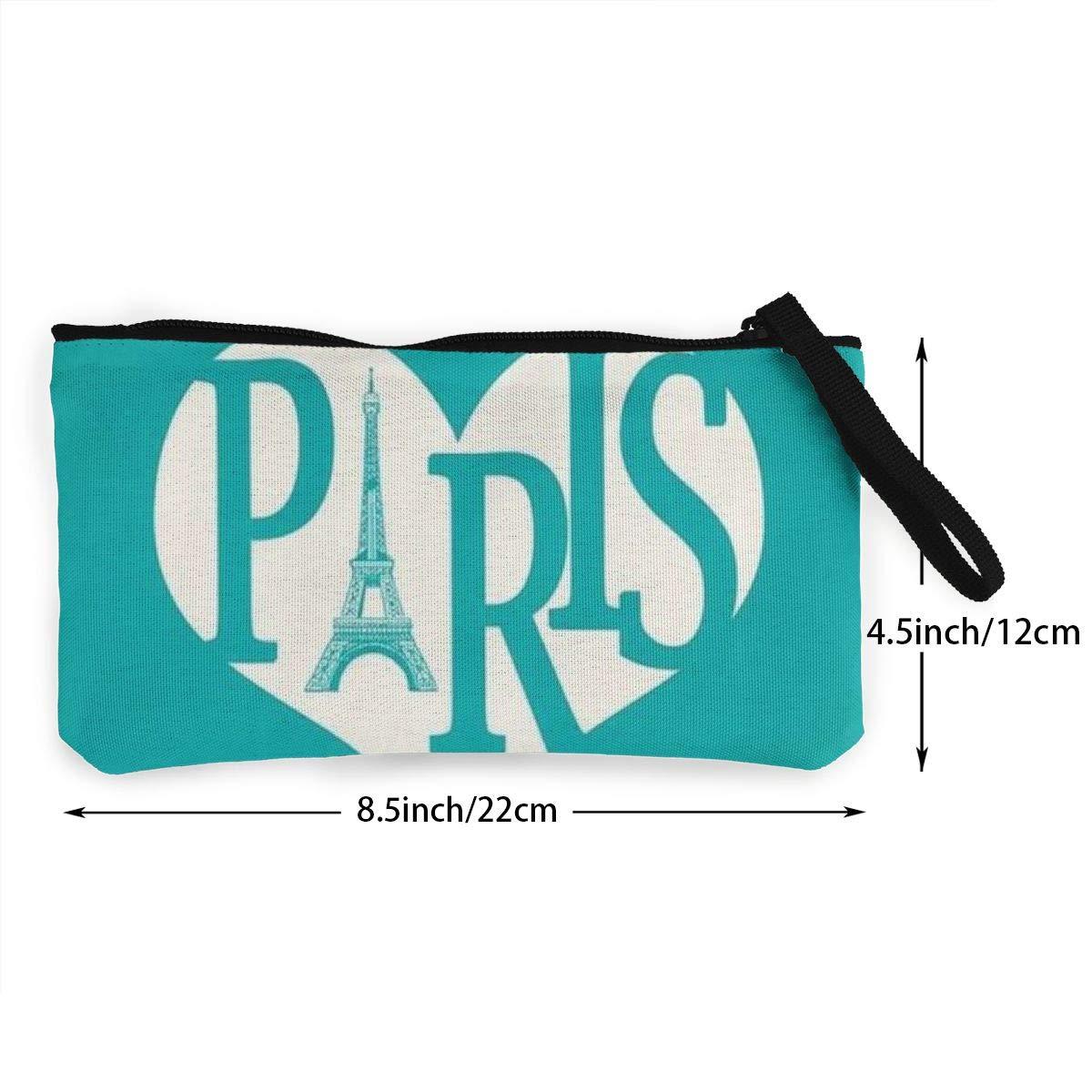YUANSHAN Paris Unisex Canvas Coin Purse Change Cash Bag Zipper Small Purse Wallets with Handle