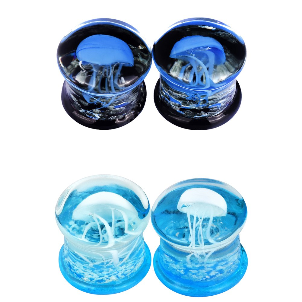 PHD LTD 4Pcs White/Blue Noctilucent Jellyfish Glass Ear Plugs Tunnels Stretcher Expander Gauge 0g by PHD LTD