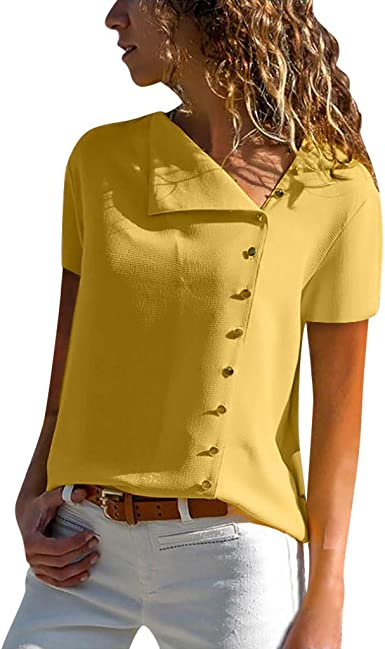 Camisas Mujer Casual, Camiseta de Cuello Alto de Solapa Casual para Mujer Camisetas de Manga Larga de Blusa de Hebilla para niña Camisas De Vestir: Amazon.es: Ropa y accesorios