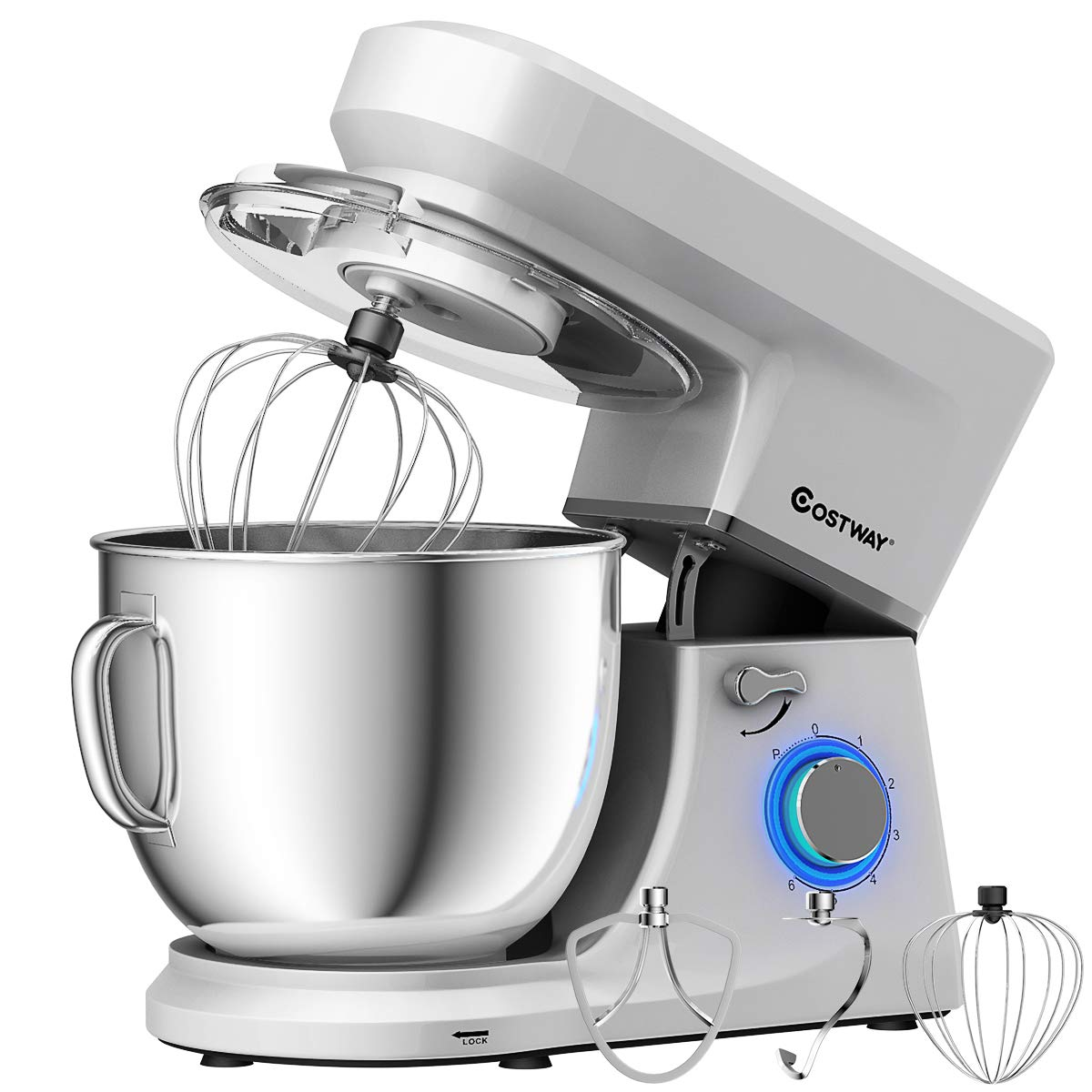 COSTWAY Stand Mixer, 660W Tilt-head Electric Kitchen Food Mixer with 6-Speed Control, 7.5-Quart Stainless Steel Bowl, Dough Hook, Beater, Whisk (Sliver-update)