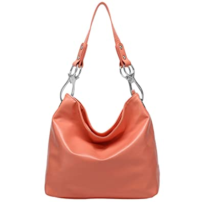 Top Handle Soft Hobo Shopper Handbag, Apricot, One Size: Handbags ...
