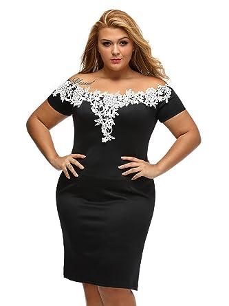 a8e719948c5 Spendness Women's Shoulder Sleeve Plus Size Pencil Dress With Laces With  Black Party Dresses (XXXL