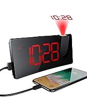【Opération Simple Version】 Réveil à Projection avec écran Incurvé à LED 5 '', 3 Niveaux de Luminosité, 12 / 24H, Réveil Numérique avec Port de Chargement USB pour Les Chambres à Coucher