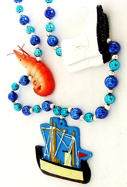 ecb11fd58d1 Amazon.com: Shrimp Boat and White Boots Mardi Gras Bead Necklace ...