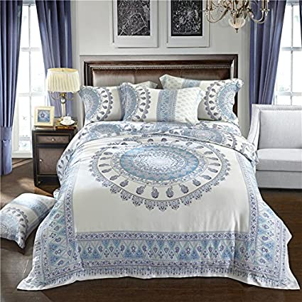 Double King Queen Size Tencel Silk Boho Bedding Sets Super Soft Cool Summer  Bed Set Mandela