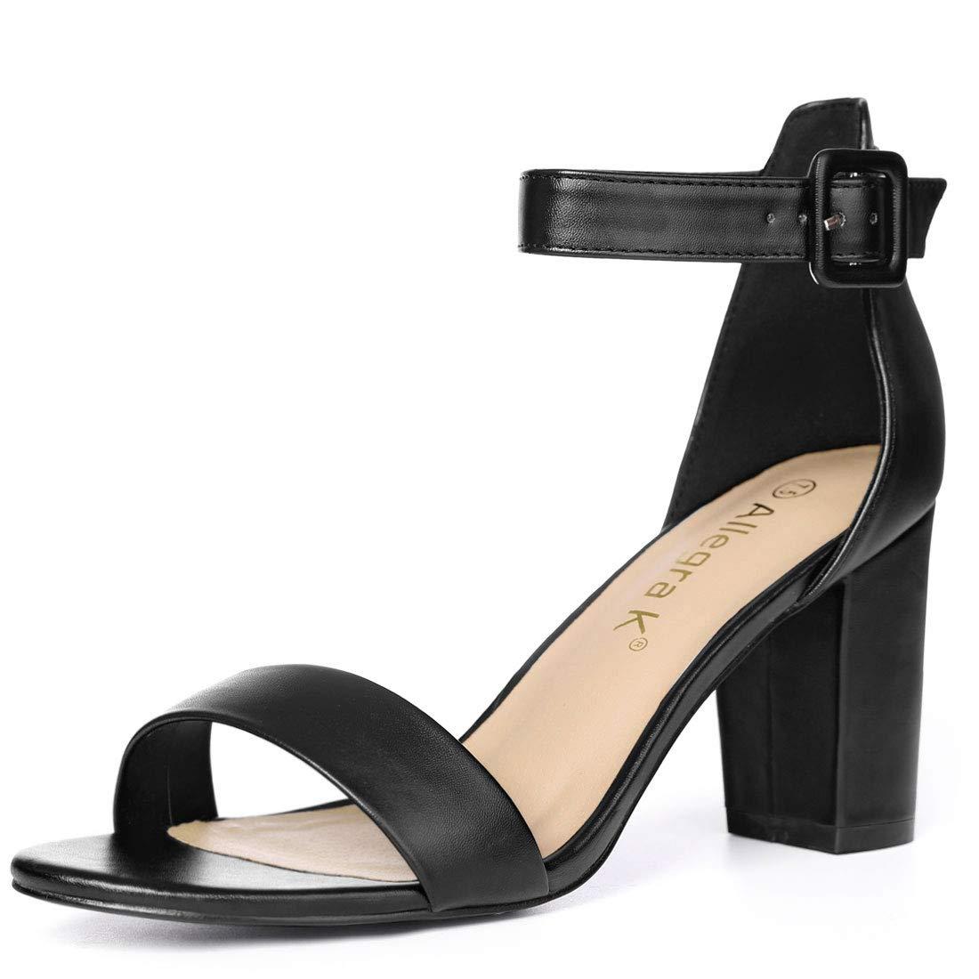 ec75de470dfb1 Allegra K Women's High Chunky Heel Buckle Ankle Strap Sandals