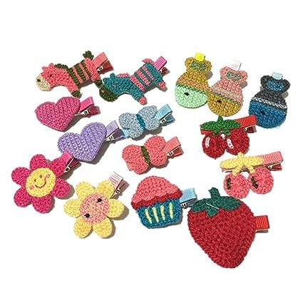 436944b4d K-youth® 15 piezas pinzas para el cabello niñas princesa estilo de pelo  hebilla tejido de punto horquilla infantil para niñas horquillas para el ...