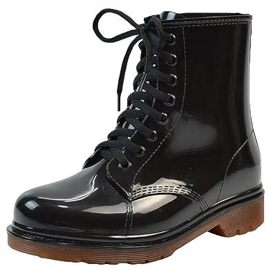 LvRao Damen Wasserdichte Schnee Regen Absatz Schuhe Garten Stiefel Knöchel Boots Kurze Regenstiefel mit Schnürsenkel Schwarz Europäische Größe 38 bWweYNW5
