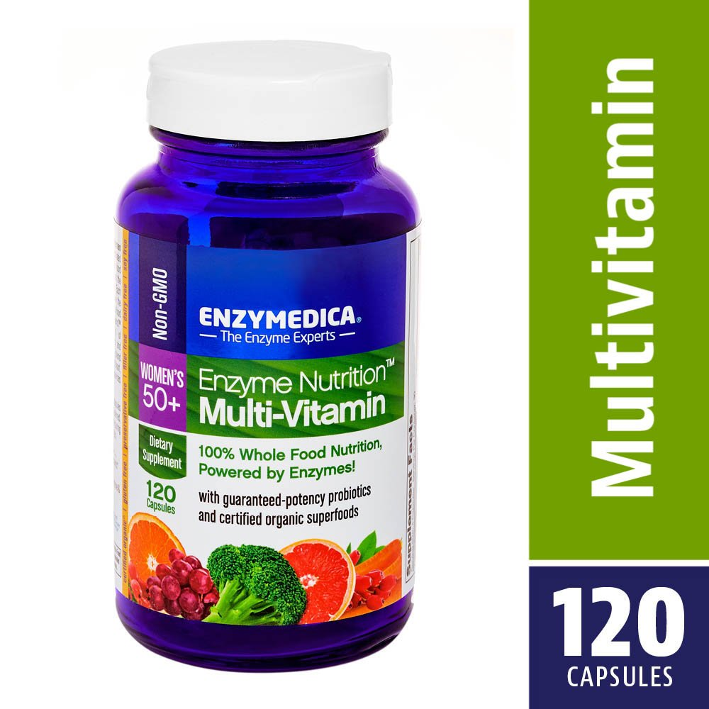 Enzymedica, Enzyme Nutrition Women's 50+ Multi-Vitamin, Support for a Healthy Heart, Immune Function and Energy, Non-GMO, 120 capsules (30 servings) by Enzymedica