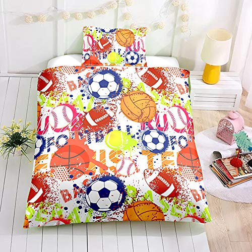 (SDIII 3PC Various Sports Balls Bedding Basketball Football Soccer Baseball Full/Queen Size Duvet Cover Set for Boys, Kids and Children Reversible Bright Color Design)