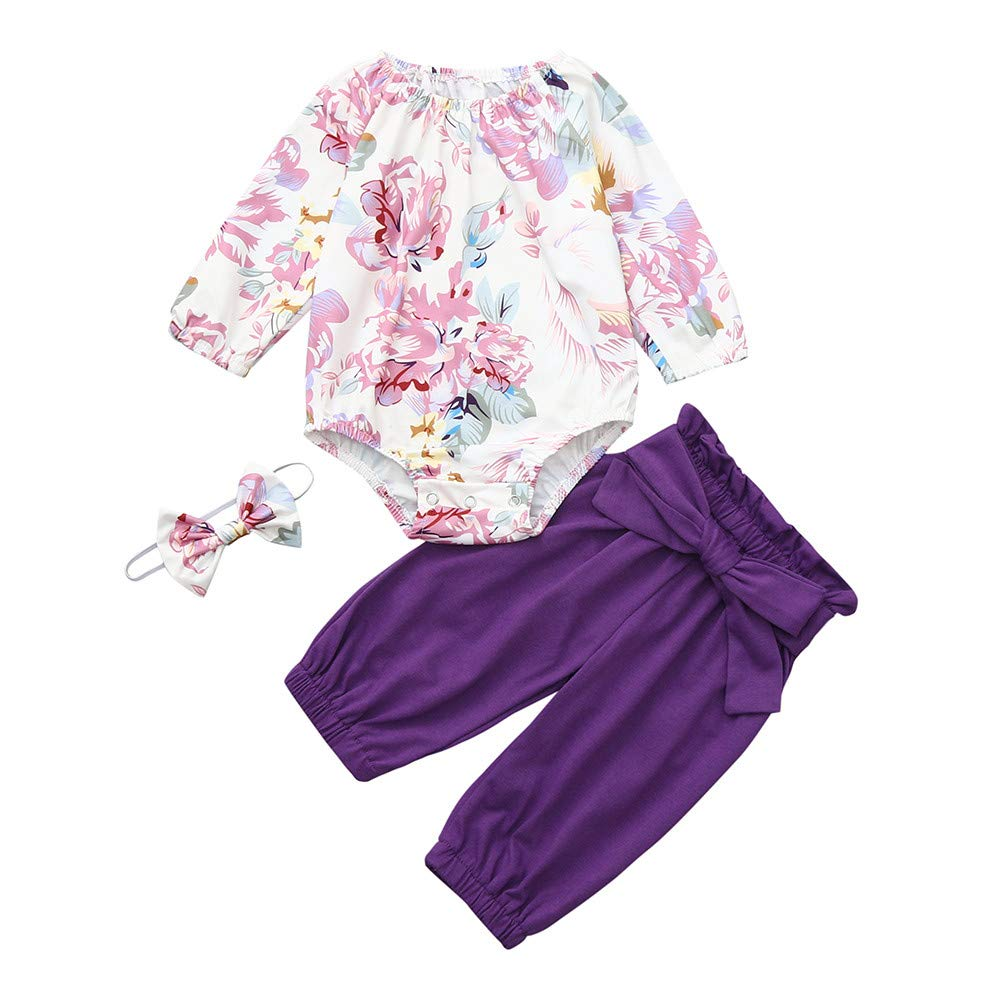 NUWFOR Newborn Infant Baby Girls Floral Romper Jumpsuit Tops Pants Headband Outfits Set(Purple,12-18Months