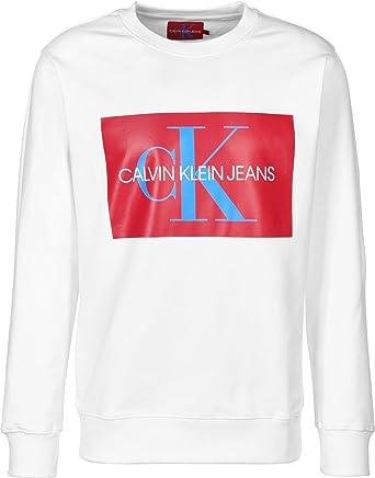 Calvin Klein Jeans Herren Monogramm Kasten Sweatshirt, Weiß