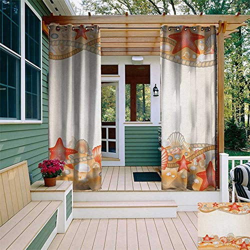 Beach, Outdoor Curtain of Lights, Sand Seashells Starfish and Ropes Marine Inspirations Abstract Coast, Outdoor Curtain Set for Patio Waterproof W84 x L96 Inch Pale Orange Vermilion Cream (Rope Inspirations)