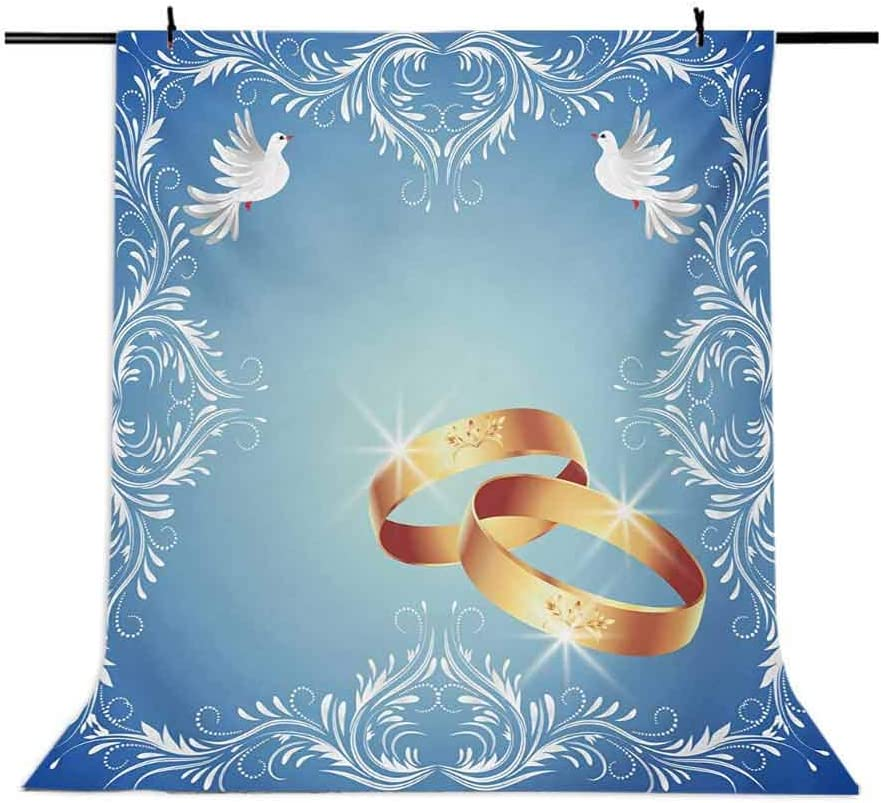 Wedding 6.5x10 FT Photography Backdrop Celebration Ornament Frame and Two Flying Doves Heart Shapes Wedding Rings Background for Party Home Decor Outdoorsy Theme Vinyl Shoot Props Blue White Gold