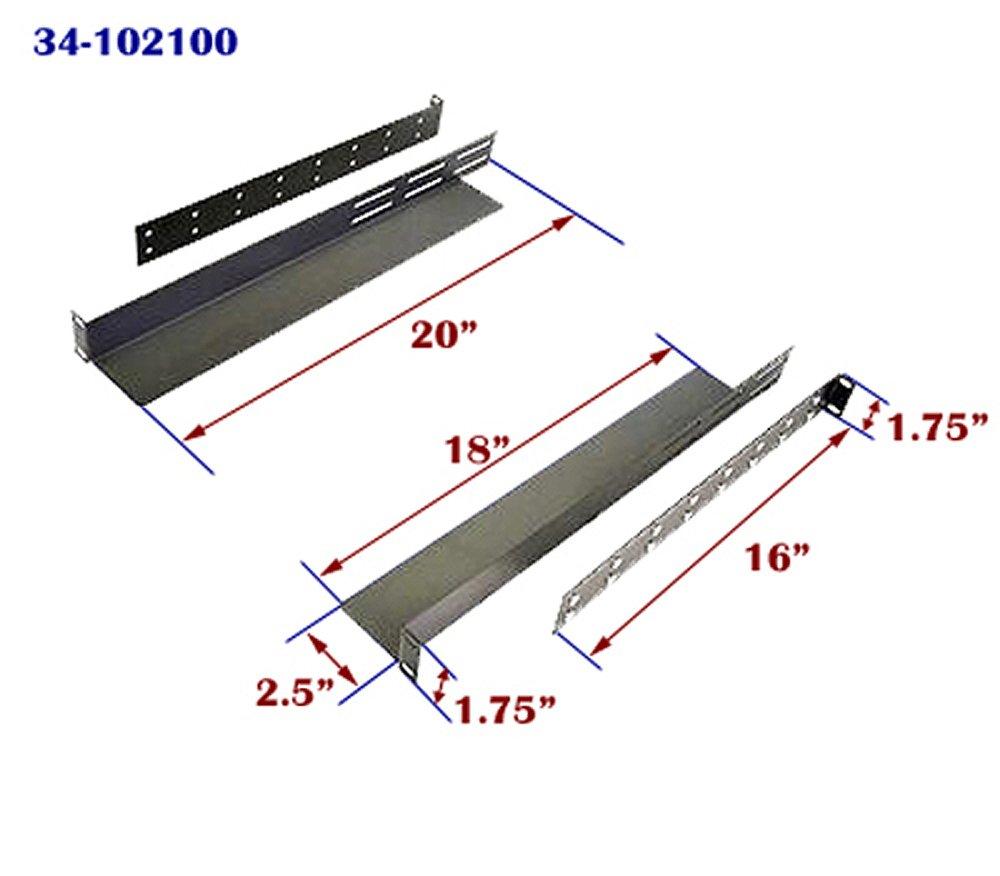1U Rack Mount Adjustable Shelf Rails Gruber 34-102100