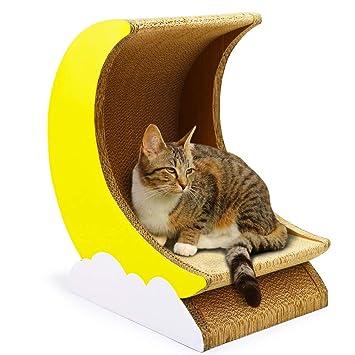 LCPG Placa para rascar el Gato Papel Corrugado Jugar a la casa de la Basura del Gato Cat Bowl Juguetes para la Luna: Amazon.es: Hogar