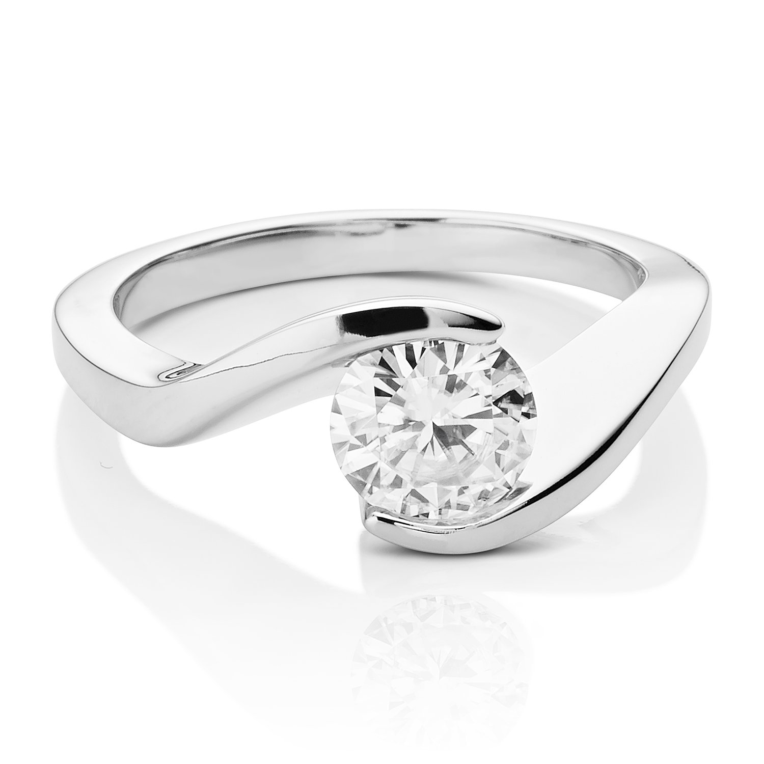 Forever Brilliant Round 6.5mm Moissanite Engagement Ring - size 8, 1.00ct DEW By Charles & Colvard by Charles & Colvard (Image #2)