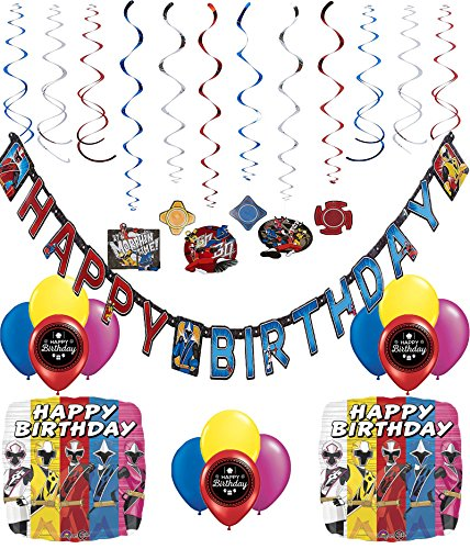 Power Rangers Ninja Steel Happy Birthday Decorating Kit Bundle (Pinata Rangers Power)