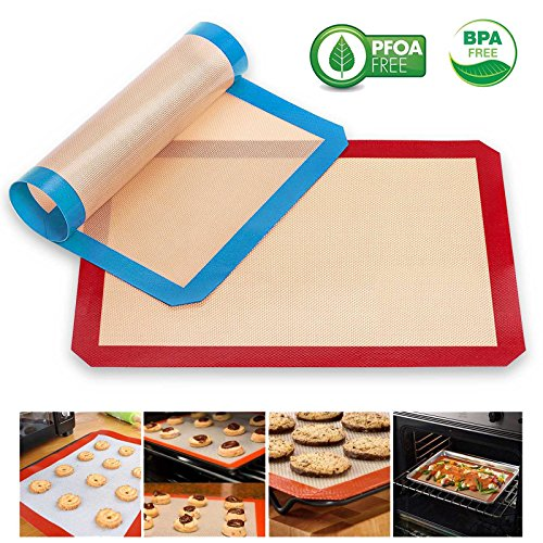 4 pcs red blue Silicone Baking Mat - Half Sheet 16.5 inch x 11 5/8 inch - Non Stick Silicon Liner for Bake Pans & Rolling- Macaron/Pastry/Cookie/Bun/Bread Making - Professional Grade Nonstick