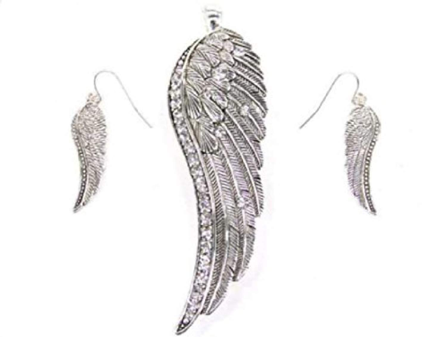 My Prime Gifts Angel Wing Rhinestone Magnetic Clasped Pendant Enhancer & Earring Set by My Prime Gifts