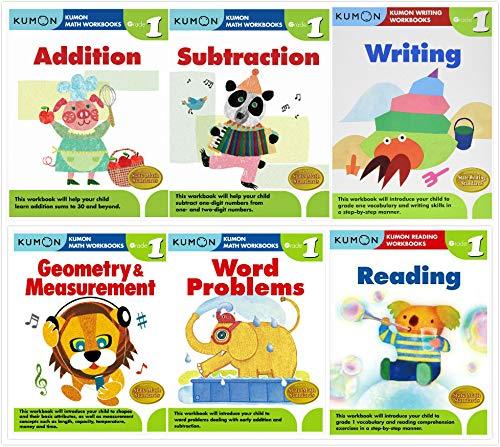 Kumon Grade 1 Complete Set (6 Workbooks) - Addition, Subtraction, Geometry&Measurement, Word Problems, Reading, Writing (Complete Grade Set)
