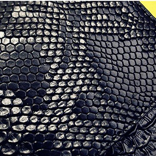 Bolso De Mano De Las Señoras Manera Patrón De La Piel De Serpiente Bolso En Relieve Del Sobre Bolso Diagonal De Las Señoras De La Onda Del Hombro De La Cruz Grey