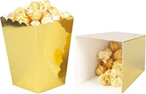 Gold Popcorn Boxes Cardboard Container For Party Supplies,Pack of 36