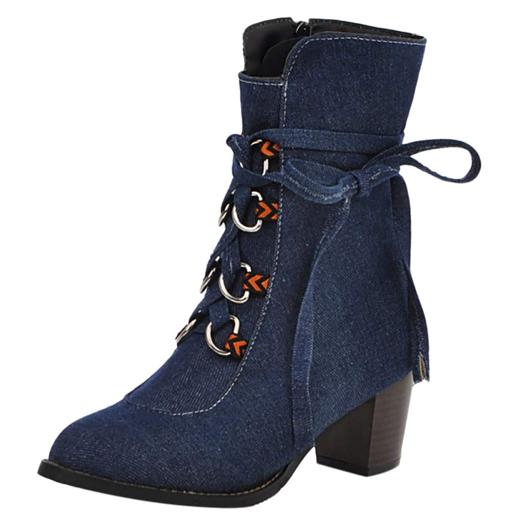 Dermanony Womens Low-Heeled Ankle Boots Fashion Zipper Solid Color Cowboy Comfortable Lace-Up Roman Casual Shoes Blue by Dermanony _Shoes