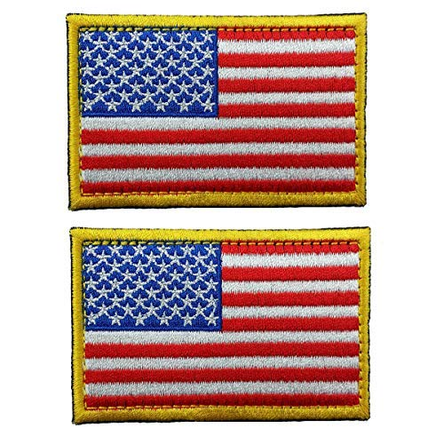 Tactical American Flag Embroidered Patch Gold Border USA United States of America Military Uniform Emblem 2 Pack(3.15X2 inch) (Velcro Flag Patch)