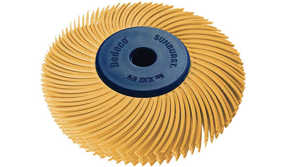 1//4 Inch Arbor 2 Inch TC 6-PLY Radial Bristle Discs Dedeco Sunburst 1 Pack Extra-Fine 6 Micron Industrial Thermoplastic Rotary Cleaning and Polishing Tool