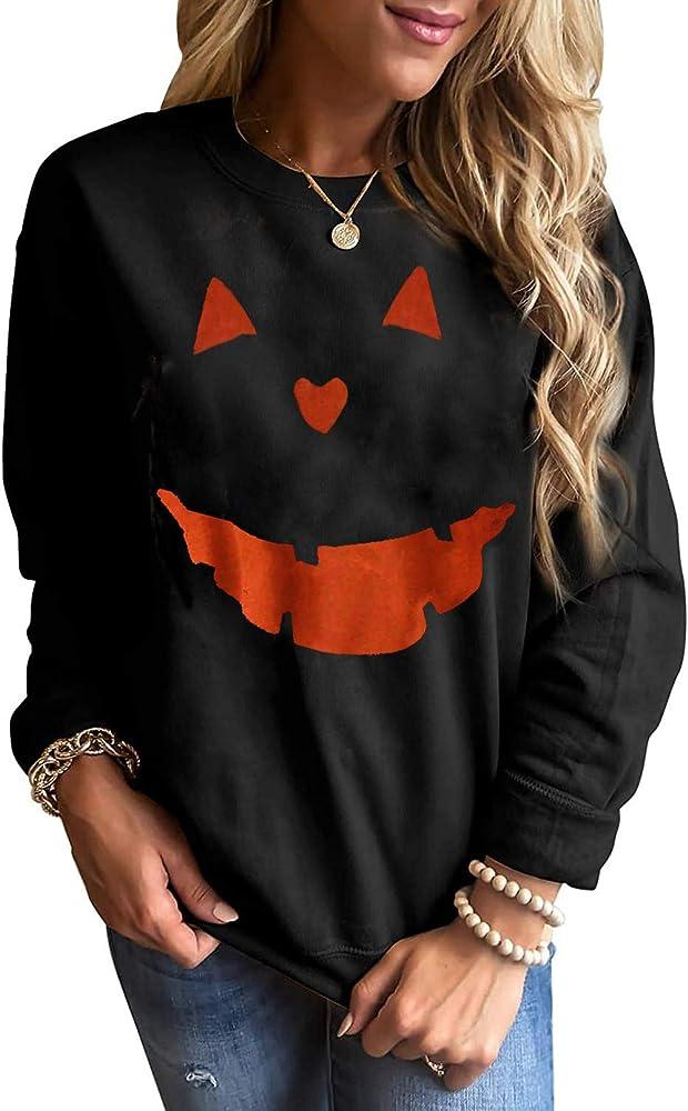 SUSSURRO Halloween Womens Halloween Hoodies Sweatshirt Pumpkin Face Casual Pullover Shirt Sweatshirt for Women and Men