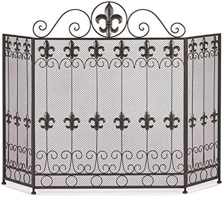 LJFPB 暖炉スクリーン 折り畳み 3パネル、暖炉とストーブの保護用 錬鉄の装飾的なスクロール、黒、48.8×33.5インチ (Color : Black)