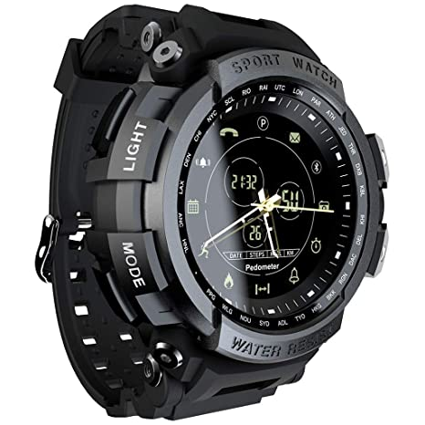 Huangou LOKMAT Sport Smart Watch Professional 5ATM Waterproof Bluetooth Call Reminder Compatible OS Android,iOS (Free, Black)