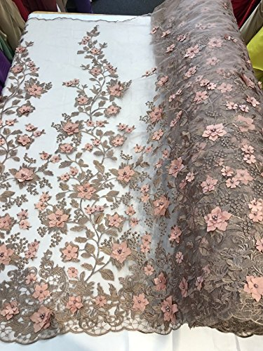 ROSE GOLD PRINCESS 3D FLORAL EMBROIDER WITH PEARLS ON A MESH-SOLD BY THE YARD.