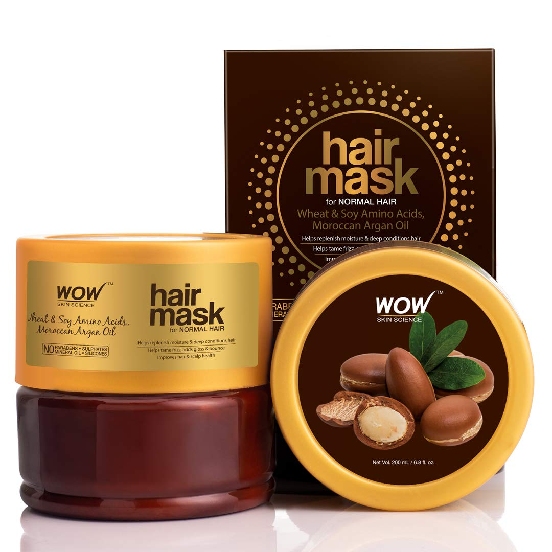 WOW Skin Science Wheat & Soy Amino Acids, Moroccan Argan Oil Hair Mask for Normal Hair, 200mL
