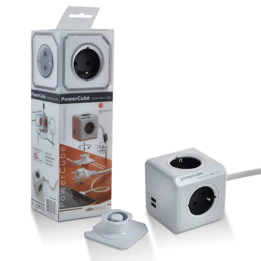 Allocacoc PowerCube Original Bloc mural DuoUSB Multiprise plate - Alimentation avec 4 prises 230V et 2 prises USB (2.1 A) ,FR Avec 1.5M (Gris 2USB 1.5M)