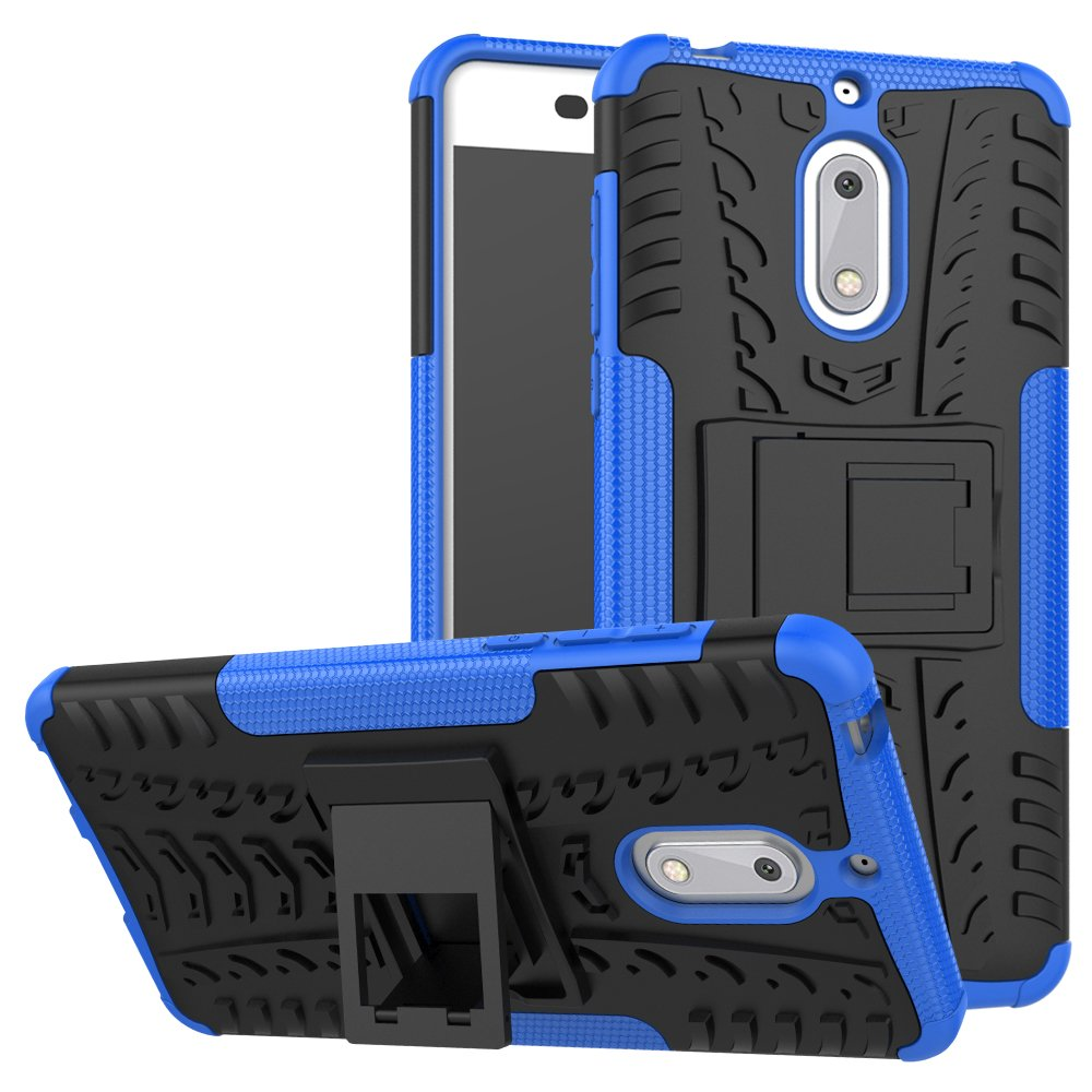 Nokia 6 Case, Skmy Shockproof Impact Protection Tough Rugged Dual Layer Protective Case Cover with Kickstand for Nokia 6 (Blue)